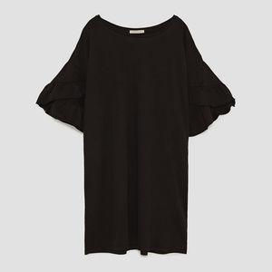NWT Zara Black Dress with Frilled Sleeves Sz S